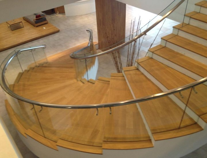 Curved Glass Railing with Stainless Steel Handrail